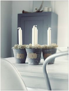 Avent 1 taper candles in little galvanized container buckets