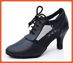 CRC Women's Stylish Closure Toe Mesh Lace-up Black Leather Ballroom Morden Salsa Latin Tango Party Wedding Professional Dance Shoes 11 M US - Athletic shoes for women (*Amazon Partner-Link)