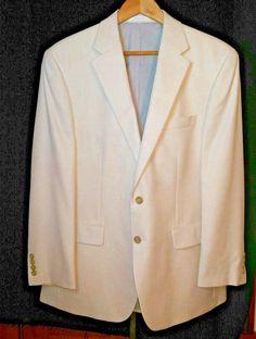 MICHAEL KORS Mens Sport Coat Jacket 42R Summer weight Poly/Viscose/Linen Natural #MichaelKors #SPORTCOAT