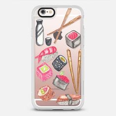 Chopsticks Sake and Delicious Watercolor Sushi- protective iPhone 6 phone case in Clear and Clear by BlackStrawberry #foodie | @casetify