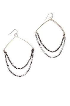 """Sterling silver hoops on an oxidized chain with black herkimer diamonds. 3"""" drop and made in Portland, OR.  Silver Chain Hoops by Sarah Dunn. Accessories - Jewelry - Earrings Portland, Oregon"""