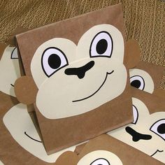 Monkey Treat Sacks - Jungle Zoo Safari Theme Birthday Party Goody Bags by jettabees on Etsy. $15.00, via Etsy.