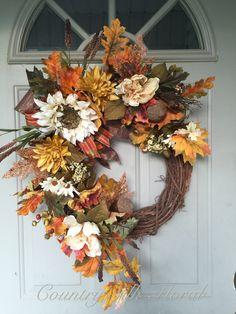 Diy Fall Wreath, Thanksgiving Wreaths, Autumn Wreaths, Summer Wreath, Holiday Wreaths, Fall Flowers, Fall Crafts, Decoration, Fall Decor