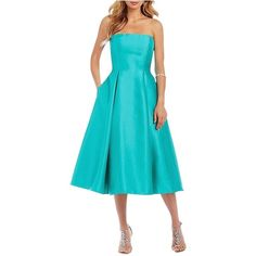 Adrianna Papell Turquoise Mikado Cocktail Dress ($160) ❤ liked on Polyvore