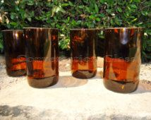 Beer Bottle Glasses made from Recycled Beer Bottles in Amber Set of 4