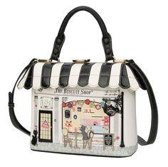 Vendula-London, biscuit, grab-bag, handbag, purse, white, black, stripe, cute, vegan, faux