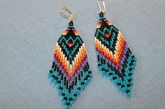Long Beaded Earrings 4 inches Ancient Ways by Bead4Fun on Etsy, $45.00