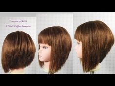 Coupe carré plongeant dégradé, frange | Layered/A Line Bob haircut, bangs|Corte en capas Bob, franja - YouTube