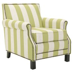 Linen-upholstered arm chair with nailhead trim and a birch wood frame.    Product: ChairConstruction Material: B...