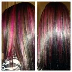Great dark brown hair with hot pink highlights