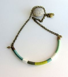 Ethnic tribal long thread choker necklace antique by arrowsrain, $29.00