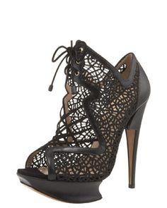 Nicholas Kirkwood Glittered Macrame Lace-Up Platform Sandal.