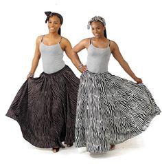 Zebra Stripe Long Skirt & Head Wrap