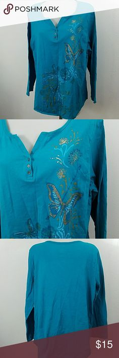 """Beautiful T-shirt with butterflies Beautiful T-shirt with butterflies by JMS Just my size.  In great condition. Size 2x. Bust 48"""" Length 28"""" Just My Size Tops Tees - Long Sleeve"""