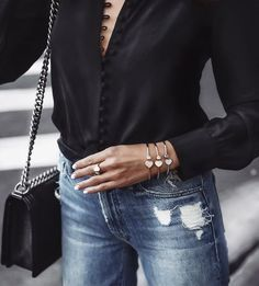 Effortless Chic With Black Shirt And Jeans Outfit