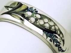 Victorian silver and enamel Lily of the Valley bangle • www.ebay.com/...