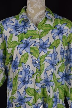 f35be2804cd8 Studio Works Womens Medium Blue Hawaiian 3/4 Long Sleeve Button Down Shirt  #StudioWorks