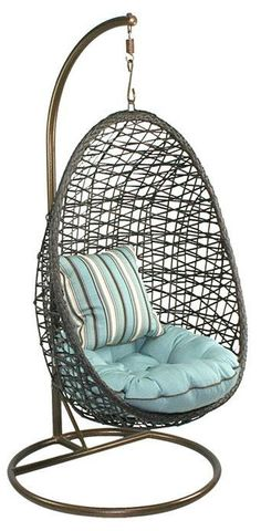 Woven Indoor/Outdoor Hanging Swing Chair ♥ with a lime green cushion. I've seen them at Pier 1
