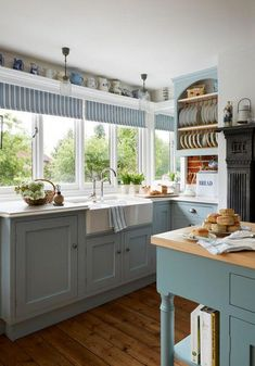 cottage kitchens Blue Country Style Kitchen with Farmhouse Sink # White Cottage Kitchens, Small Country Kitchens, Small Cottage Kitchen, Country Kitchen Designs, Beach House Kitchens, Farmhouse Sink Kitchen, Home Kitchens, Kitchen Rustic, French Kitchen