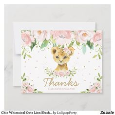 Chic Whimsical Cute Lion Blush Pink Floral Note Card Lion Birthday Party, Girl Birthday Themes, Cute Lion, Custom Cards, Zazzle Invitations, Paper Texture, Note Cards, Blush Pink, Whimsical