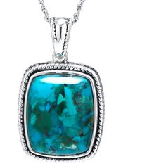 Enhanced Turquoise Sterling Silver Rectangular Pendant Necklace (One... (3,530 EGP) ❤ liked on Polyvore featuring jewelry, necklaces, turquoise pendant necklace, sterling silver pendants, sterling silver pendant necklace, sterling silver turquoise necklace and long necklace pendant