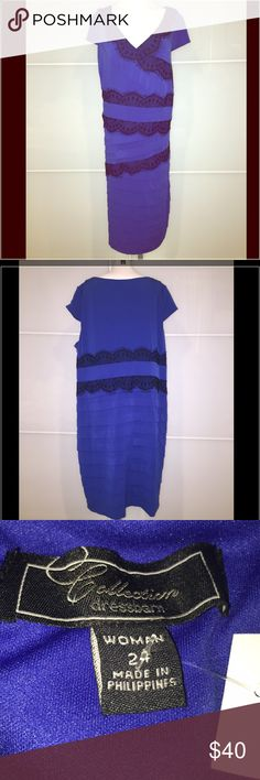 PLUS NWT Special Occasion Dress!  Blue & Black! Very nice!  Flattering!  Lace detail.  Great for guest of wedding or other special event! Dress Barn Dresses