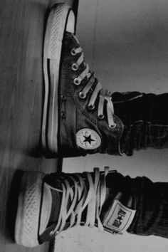 Chucks in black and white. <3
