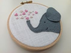 Felt elephant textile hoop art with love hearts Gold Angel Wings, Angel Wing Pendant, Love Heart, Hoop, Coin Purse, Elephant, Hearts, Felt, Textiles