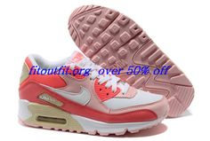 Bl25em Nike Air Max 90 Hot Punch White Storm Pink Beach Womens $49.45 #Nike Air Max Sale