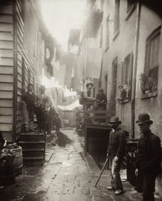 "Bandit's Roost (1888), by Jacob Riis, from ""How the Other Half Lives."" Bandit's Roost, at 59½ Mulberry Street (Mulberry Bend), was the most crime-ridden, dangerous part of all New York City."