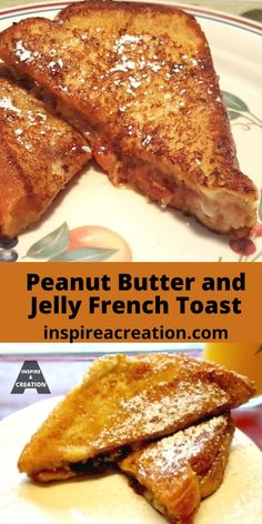 Peanut Butter and Jelly French Toast-Here it is.What a perfect combination for a leisurely weekend breakfast. This would even be an excellent brunch! Breakfast Bread Recipes, Easy Brunch Recipes, Waffle Recipes, Great Recipes, Breakfast Ideas, French Toast Waffles, Pancakes Easy, Skillet, Jelly