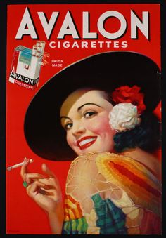 VINTAGE 1930s COLOR AVALON CIGARETTES ADVERTISING POSTER SMOKING PIN UP SENORITA