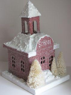 Putz Style Village School House Christmas Decoration