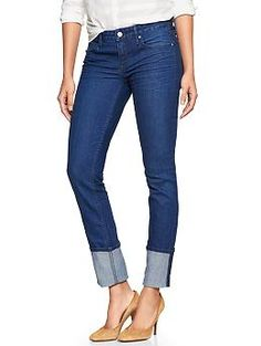 Just bought these. I was looking for a skinny jean that i can still move in! These are so stretchy AND skinny AND an amazing bright, true blue color! 1969 cuffed always skinny jeans $69.95 Gap