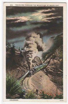 Railroad Train Mountains Moonlight Colorado 1920s postcard | eBay