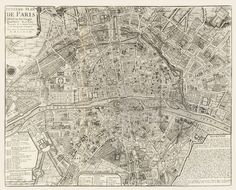 Vintage Map  Paris France 1705  Larger Size by Imagerich on Etsy, $40.00