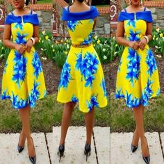 Available Sizes : S;XL Bust(cm) : Waist(cm) : Length(cm) : Type : A Type Material : Polyester Color : Yellow Decoration : Print Pattern : Flowers Collar : Collarless Length Style : Knee Length Sleeve Length : Short Sleeve Yellow Midi Dress, Floral Print Maxi Dress, Yellow Flowers, Color Yellow, Casual Outfits, Fashion Outfits, Women's Fashion, Flower Dresses, African Dress