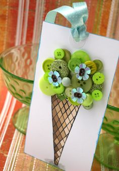 ice cream cone with buttons