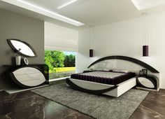 Ultra modern bedroom with tiled floor and high ceilings. #bedrooms