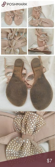 Bow Sandals Cute Used blush color sandals with sparkling bows Bamboo Shoes Sandals