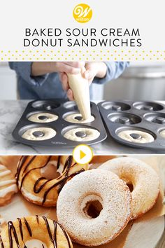 Whether you're hosting a fancy brunch or an afternoon wedding shower, these Baked Sour Cream Brunch Donut Sandwiches are a sweet addition to your table. Make donut sandwiches using our buttercream icing (or whatever filling you prefer!).#wiltoncakes #brunch #brunchideas #brunchrecipes  #brunchmenu #bruncheasy #weddingbrunch #brunchwedding #brunchhweddingshower #brunchweddingreception  #brunchtable #brunchtablescape  #brunchbridalshowerideas