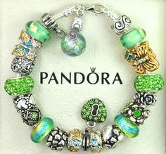 AUTHENTIC PANDORA SILVER BRACELET WITH EUROPEAN CHARM BEADS BUTTERFLY FAMILY NEW #Pandoralobsterclaspclaw #European