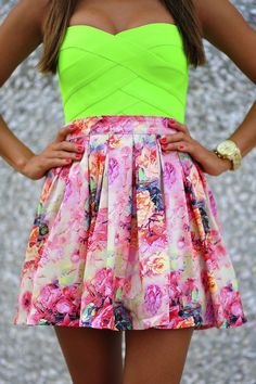 neon tube top and floral skirt
