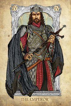 Tarot: The Emperor by SceithAilm on DeviantArt Legolas, Aragorn, Gandalf, The Emperor Tarot, Stampin Up Karten, Art Carte, O Hobbit, Tarot Major Arcana, Jrr Tolkien