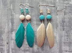 Statement Feather Earrings. Turquoise Boho Earrings. Stone