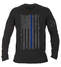 """In the words of a great man """"The sheep pretend the wolf will never come, but the sheepdog lives for that day."""" -Lt. Col. Dave Grossman (Ret.)  Support the Blue, you may need a hero one day. Grunt Style's Blue Line Long Sleeve shirt is an ultra-comfortable and soft black, long sleeve men's shirt that is made out of 100% cotton.   #police #america #thinblueline #lawenforcement"""