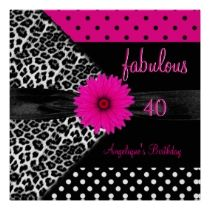 fabulous 40 Birthday Zebra Spot Polka Dot invitations