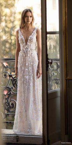 eisen stein 2018 bridal sleeveless deep v neck full embellishment romantic modified a  line wedding dress open back (6) mv -- Eisen Stein 2018 Wedding Dress #weddingdress