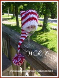 This elf hat makes for an adorable holiday photo op! It is made of high quality acrylic yarn that is not rough or scratchy to the touch.  Made by Whispering Rain Creations  Available Sizes: 0-3 months or 13-14 inch circumference 3-6 months or 14-15 inch circumference 6-12 months or 15-16 inch circumference