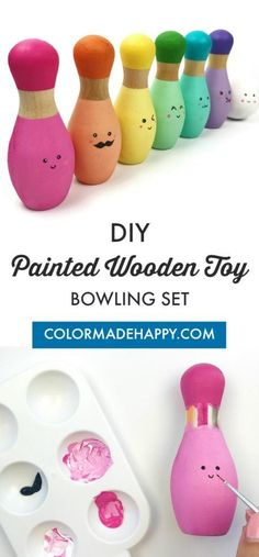 Learn how to make your own DIY Kawaii painted wooden toy bowling set. This wooden toy set makes for a wonderful birthday present for kids. Diy Gifts For Kids, Presents For Kids, Fun Crafts For Kids, Baby Crafts, Diy For Kids, Toddler Crafts, Bowling Pins, Bowling Pin Crafts, Bowling Party